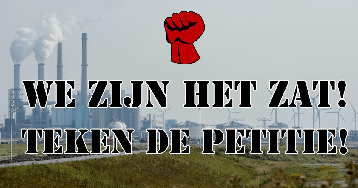 """Afbeelding van de Maasvlakte met tekst: """"We zijn het zet! Teken de petitie!"""""""