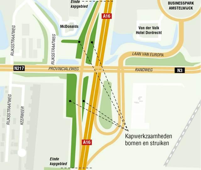 Nieuwe aansluiting A16 op N3.